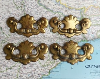 SALE! 4 vintage distressed brass metal curvy pull handles (set #2)*