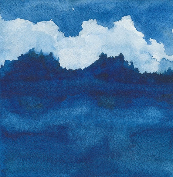 Clouds Over River - large archival print of watercolor painting - 12 X 12 inches - AS SEEN on Apartment Therapy