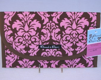 Dandy Damask Cocoa Diaper and Wipes Case Holder Clutch