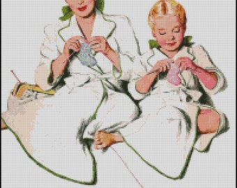 VINTAGE, MOTHER And DAUGHTER cross stitch pattern No.333