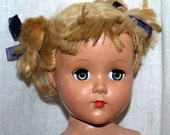 Vintage Hard Plastic Doll, 17 inches, Blonde Mohair Wig, 1950's