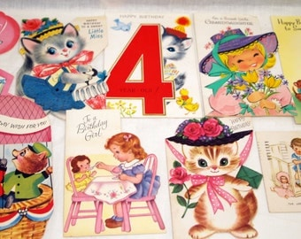 9 Vintage Birthday Cards Girls Kittens Used So Sweet Lot