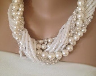 Pearl and Rhinestone Necklace, Chunky Pearl Necklace Weddings Bold Bridal Pearls and Rhinestone Necklace