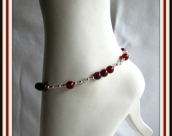 Carnelian Anklet, Body Jewelry ,Foot Jewelry,  Beaded Anklet, Gemstone Anklet,  Ankle  Bracelet  9 inches with or without extender Item #965