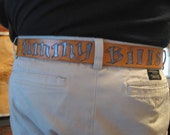 sexy ass leather belt - handmade one of a kind etched and painted to suit