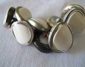Set of 10 VINTAGE Silver Metal White Plastic BUTTONS