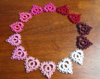Needle Tatted Lace Heart Earrings / Little bits of Love / Reiki infused