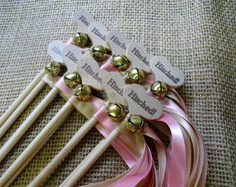 "Wedding Wand Favors Hitched Country Heart Wedding Wands for Bride and Groom Send Off  SET OF 10 - 2 Ribbons 36"" Each - Item 1413"