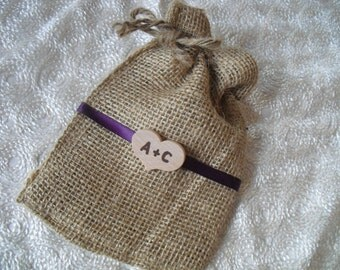 Favor Bags - SET OF 10 Rustic Initial Heart  Burlap Wedding Favor Bag Candy Buffet Bag or Gift Bag - Item 1190