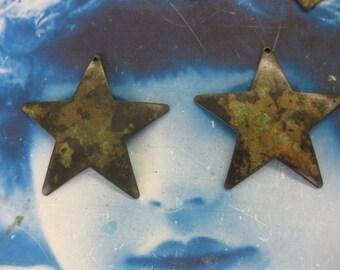 Verdigris Patina Big Old Brass Star Charms Pendants 1008VER x2