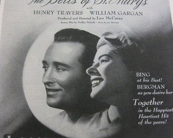 1945 Vintage Movie Life Magazine Advertisment Bing Crosby and Ingrid Bergman in The Bells of St. Mary's