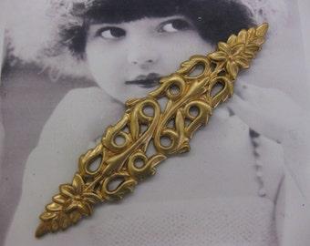 Vintage Natural Raw Brass Long Floral Garland Stamping  2272RAW x1