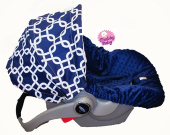 Infant Car Seat Cover in Baby Love Navy Blue  with navy blue minky seat cover