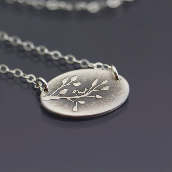 Tiny Bird on Branch Necklace - Etched Sterling Silver