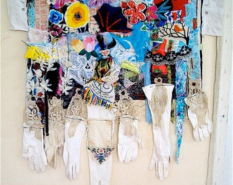 reserved for tl - GARDEN GATHERING Folk ART Mixed Media / Fabric Assemblage Collage Wall Hanging