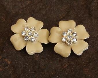 Earrings, Vintage Flower and Rhinestone Clip On Earrings