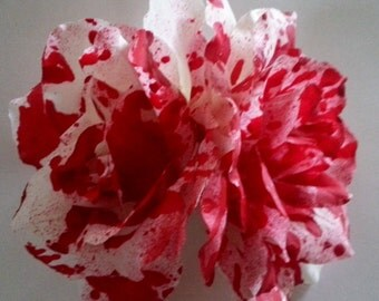 Bloodsplatter, Blood, Rose, Rose barrette, blood splatter, Rockabilly , pin up , flower, red flower, Dexter, Horror, Rose