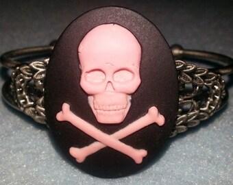 Skeleton, skull, skeleton,  skull cameo, cameo, skull cuff,pink skull , cameo cuff,pink skeleton,victorian