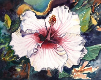 Hawaiian Hibiscus 8x10 art print from Kauai Hawaii hot pink red green