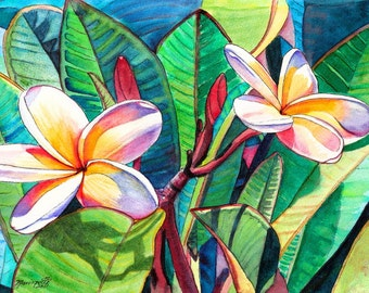 Kauai Plumeria Garden  5x7 art print from Kauai Hawaii green yellow red blue frangipani