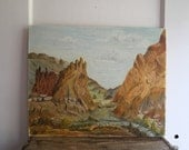 vintage landscape painting oregon desert smith rock