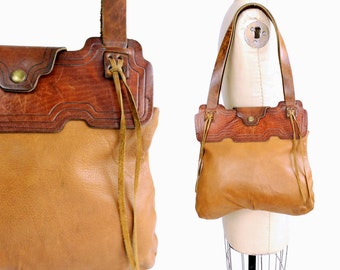 Vintage 1970s Rustic Leather Tote Bag | Western Leather Handbag | Brown Leather Purse