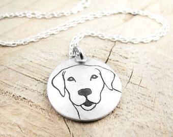 Dog necklace, Yellow Labrador Retriever necklace, silver dog jewelry