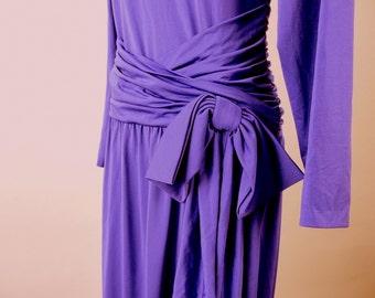 Vintage 1980's Slinky Purple Formal, Modern Size 10, Medium