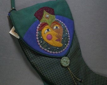 Tudor Lady FINN Double Sided Felted And Embroidery Wearable Art BIG Tapestry Shoulder Bag
