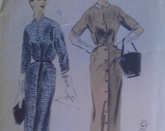 Vintage 50s Fitted Button Front Collarless Peter Pan Collar Sheath Dress Vogue Sewing Pattern 8067 B32