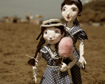 Portia and Purdy- ooak handmade art doll sisters