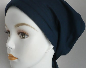 Navy Chemo Cancer Scarf Cotton Turban Hat Cotton Bad Hair Day Head Wrap Covering