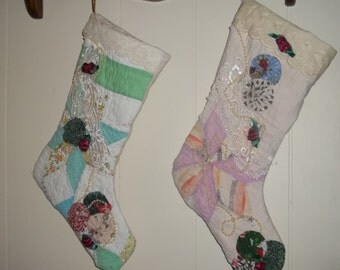 2 Quilted stockings- Vintage Quilt Made into christmas stockings   -Victorian look