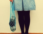 LAST ONE Reuseable Vintage Inspired Light Blue Mesh Bag