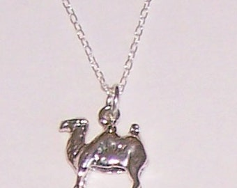 Sterling Silver 3D CAMEL Pendant and Chain - Wildlife, Pet, Safari, Totem