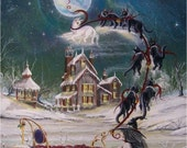 """Folk Art Solstice PRINT """"Solstice Magick Ride"""" Witch Sleigh Cats Snow House Byrum"""