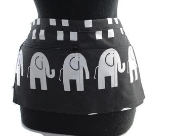 Vendor Apron Server Apron Travel Apron Black White Elephant Cotton Twill