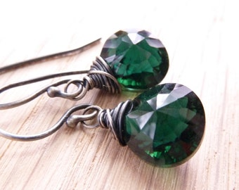 Christmas, Evergreen, Green, Emerald, Forest, Woodland. Dorothy Earrings by Anastassia Designs