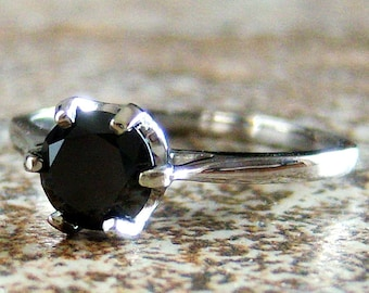 SALE, Genuine Black Diamond 18k White Gold Ring, Cavalier Creations