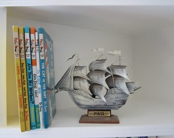 Nautical Metal Sailing Ship Paperweight / Library Shelf Display / Bookends 'Pinta Columbus' Beach House Cottage Chic Decor Shabby Chic