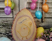 Easter Cute Chick embroidery PDF Pattern - stitchery primitive pillow pinkeep tag pincushion tuck daffodil