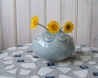 vintage handmade pottery vase light blue