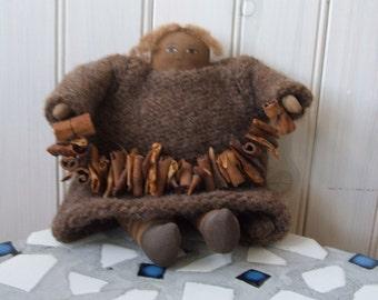 Primitive Folk Art Doll painted canvas homespun wool and cinnamon garland