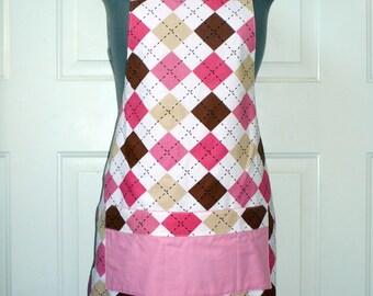 Pink Argyle Apron