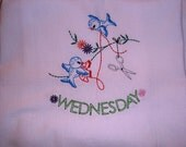 Days of the Week flour sack towels, dish towels, embroidered, bluebirds, vintage pattern