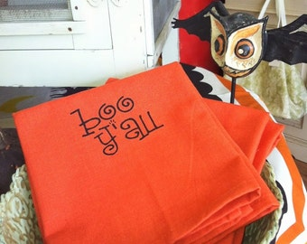 Boo Y'all Halloween Orange Silk-screened Kitchen Guest Gift Towel