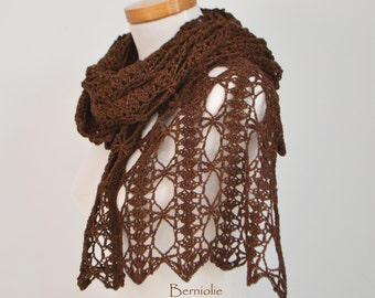 Lace crochet shawl stole, wool/silk, Brown,  M153