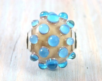 Tan and Transparent Blue Handmade Lampwork Glass Focal Bead w/ Sterling Silver Cap/Core, Handcrafted Art Glass Jewelry, Beach Contemporary