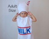 Adult Halloween Costume Milk Carton with Straw Dress Up Teen Couple Group Costume