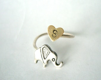 Silver elephant personalized initial ring, adjustable ring, animal ring, silver ring, statement ring